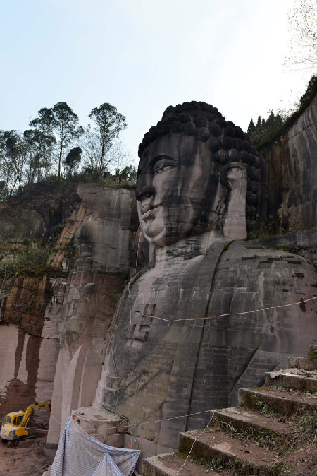 giant buddha statue carved in mountain 1 chinadaily com cn