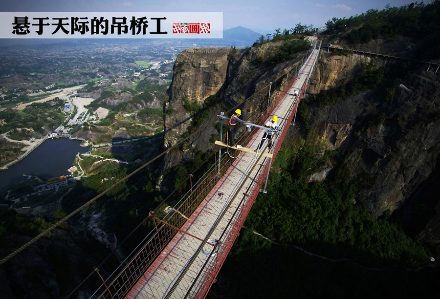 Hanging in the air: Workers risk life on a suspension bridge