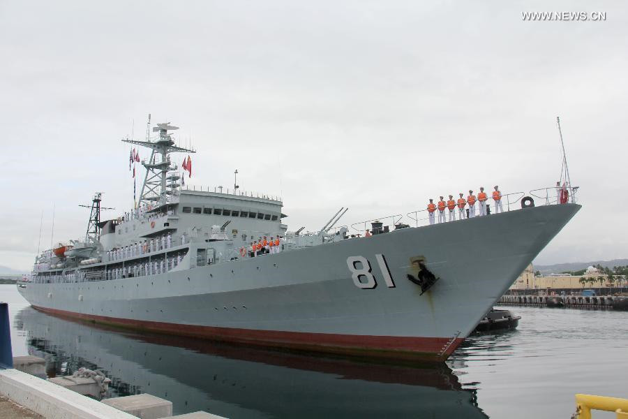 Chinese Navy's training vessel arrives in Pearl Harbor