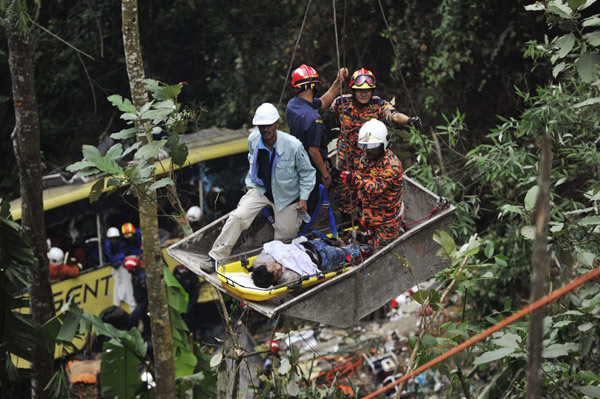 At Least 37 Killed In Malaysian Bus Crash 1 Chinadaily Com Cn